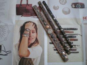 Noosa Braccialetto sottile argento-bronzo Pelle