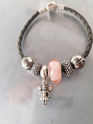 Original Pandora Armband Echtleder grau & 6 Anhänger Beads Charms