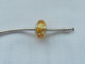 original Pandora Murano Glas gelb m. Punkten 790687 wenig getragen