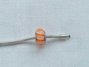 original Pandora Murano orange Candy Stripes 790679 wenig getragen