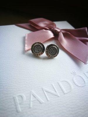 Pandora Zarcillo negro-color plata