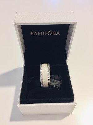 Original Pandora Perlglanz Herzen-band Ring, Größe 54  Sterling-Silber, Emaille, Creme, Cubic Zirkonia