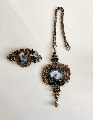 Original Pentti Sarpaneva - Vintage , Finland: XXL Bronze Kette und Armband mit Achat von Pentti Sarpaneva