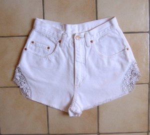 Original Pepe High Waist Shorts mit Spitze weiß, DIY preppy Blogger