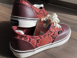 Original Pepe Jeans London Sneakers Sk8 Low Bordeaux Burgunder Snake