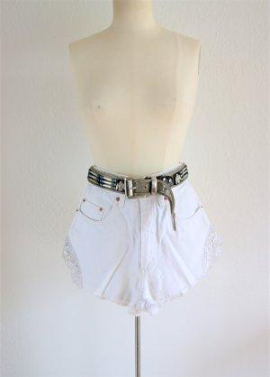 Original Pepe Jeansshorts mit Spitze, weiße vintage High Waist Shorts, boho blogger alternative