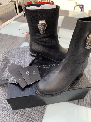 Philipp Plein Booties black-silver-colored leather