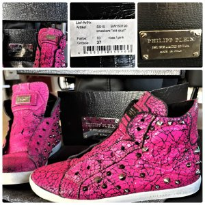 Original Philipp Plein Used Look Old Skull Pink Leder Sneakers Nitten Gr.37OVP