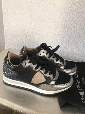 Original Philippe Model Sneaker Turnschuhe Tropez schwarz Glitzer beige 36 NP 330€ wNeu