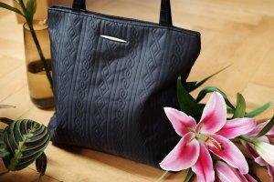 original picard handtasche umhängetasche struktur steppmuster schwarz shopper