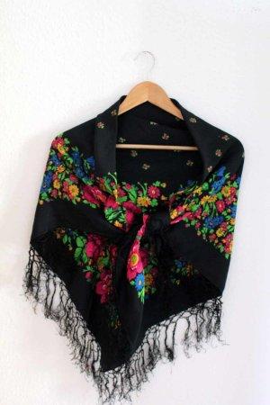 Châle au tricot multicolore coton