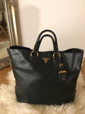 Original Prada Cervo Side ZIP Tasche schwarz Leder