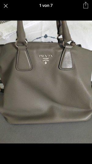 Original Prada Handtasche grau Kalbsleder