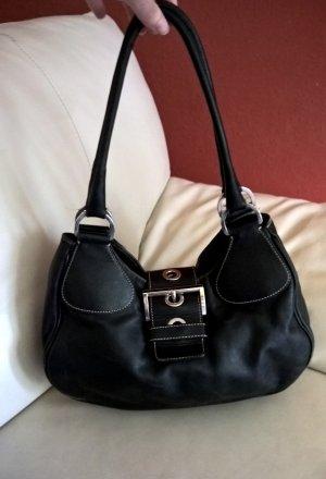 Original PRADA kleine Handtasche schwarz Leder Pochette/Tasche silber Hardware Schultertasche