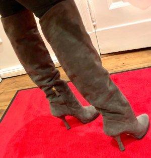Original Prada Plateau Damen Stiefel Größe 38 Wildleder grau