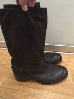 Original Prada Stiefel in dunkelbraunen Leder