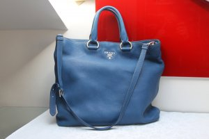 Original Prada Tasche Shopper Vit. Daino Leder Türkis Blau Silberware