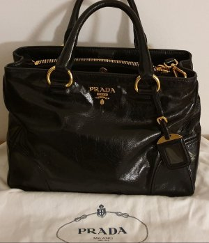 Prada Handbag black-gold-colored leather