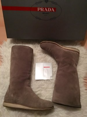 Original Prada Wildleder Stiefel 35,5 36 36,5 beige Nude braun