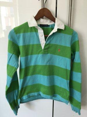 Original! Ralph Lauren Poloshirt grün-blau in langarm, Größe S