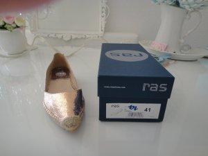 Original RAS Espadrilles Ballerinas Gr 41 Rosegold Metallic Leder NP 109 ,- Euro