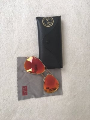 Original Ray Ban Aviator Pilotenbrille Orange Rosa verspiegelt