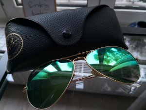Original Ray Ban Polarized Sonnenbrille Grün Gold