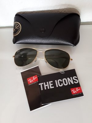 Original Ray Ban Sonnenbrille aviator Form gold grün mit Etui Top!