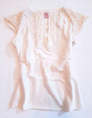 Original Replay Shirt Top Reine Seide hochwertig Spitze champagner Farben Gr. XS