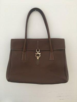 Original SALVATORE FERRAGAMO Handtasche aus braunem Leder