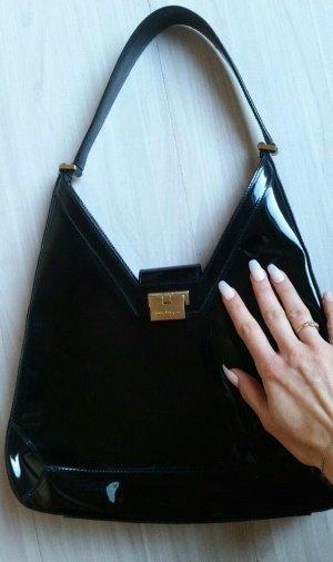 original salvatore ferragamo lack handtasche schwarz lackleder italien