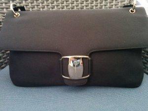 Original Salvatore Ferragamo Schultertasche Textil Schwarz Silber Ledergriff
