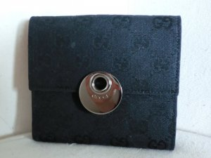 Gucci Wallet black-silver-colored leather