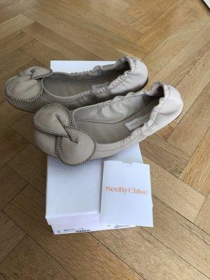 Original SEE BY CHLOÉ Ballerinas Flats wNeu Karton 36 nude beige zip Schleife