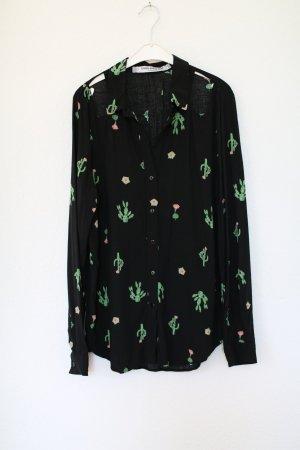 Original Something Else Hemd Bluse schwarz Kakteen Vintage Look Gr. M