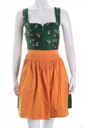 Original Steindl Dirndl orange-grün Metallelemente