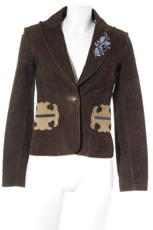 Original Steindl Leren blazer bruin klassieke stijl