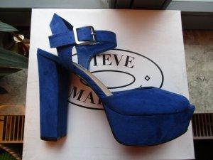 Steve Madden Platform High-Heeled Sandal blue-gold-colored