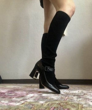 Botas estilo militar negro-color plata
