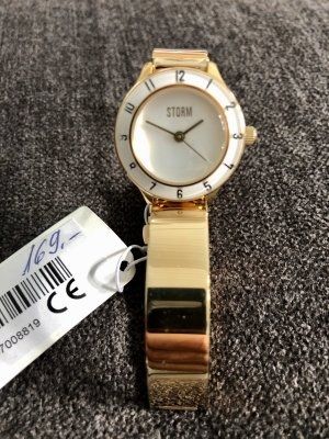 Watch With Metal Strap gold-colored-white stainless steel