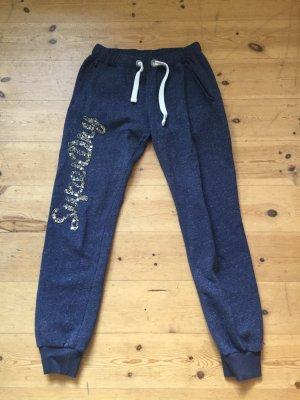 Original Superdry Jogginghose Gr. S Pailletten blau