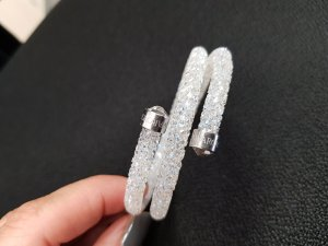 Original Swarovski Crystaldust Double Armband weiss silber