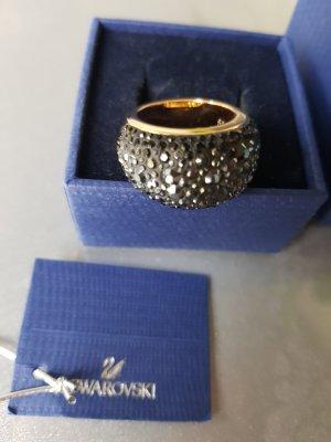 Original Swarovski Ring Gr. 55 Kristalle in schwarz wie neu