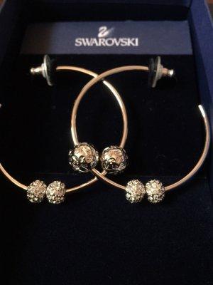 Original Swarovski Signature Hoop Ohrringe Creolen 976126, Strassbällen, Silber