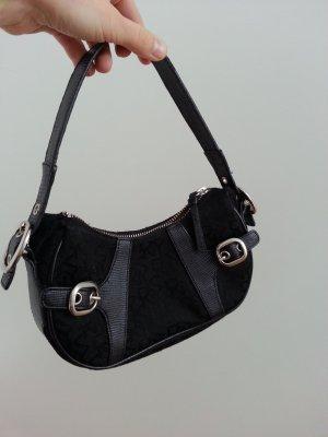 Original Tasche Clutch DKNY schwarz silber Monogramm Silvester