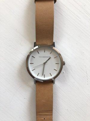 Orologio con cinturino di pelle color cammello-grigio chiaro