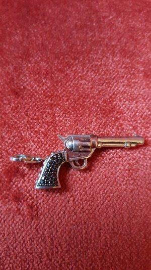 Original Thomas Sabo Revolver Pistole Anhänger Charm schwarze Zirkonia Steinch