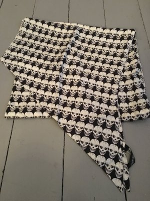 Silk Scarf white-black silk
