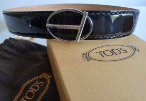 Tod's Cinturón de cuero negro-color plata