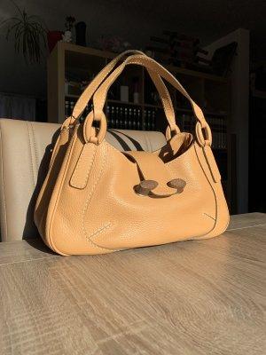 Original Tod's Leder Handtasche hellbraun mit Holz